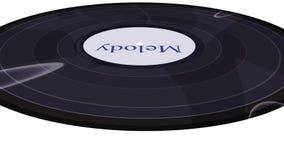 Disco de vinilo que hace girar en un primer blanco del fondo almacen de metraje de vídeo