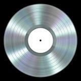Disco de vinilo realista del platino en fondo negro Imágenes de archivo libres de regalías
