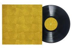 Disco de vinilo retro con la manga Surco-texturizada. imágenes de archivo libres de regalías
