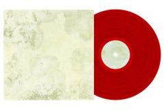 Disco de vinilo rojo con la cubierta foto de archivo libre de regalías
