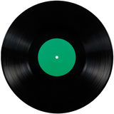 Disco del álbum del lp del expediente de negro vinilo, disco aislado detallado grande del disco de larga duración, espacio verde  imágenes de archivo libres de regalías