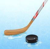 Disco del bastone di hockey e di hockey Fotografia Stock Libera da Diritti