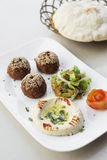 Disco del mezze de los snacks del arrancador del houmus del hummus del Falafel Imágenes de archivo libres de regalías