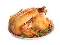 Disco del pavo cocinado con la guarnici?n en blanco fotografía de archivo