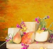 Disco del queso con el italiano de la pera y del parmesano Imágenes de archivo libres de regalías