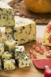 Disco del queso del abastecimiento con y granada fresca Fotos de archivo