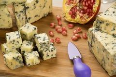 Disco del queso del abastecimiento con y granada fresca Fotos de archivo libres de regalías