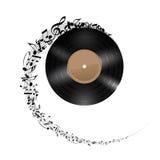 Disco del vinile con le note di musica. illustrazione vettoriale