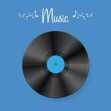 Disco del vinile su fondo blu con ombra Illustrazione Vettoriale