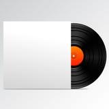 Disco del vinilo con la cubierta en blanco Imágenes de archivo libres de regalías