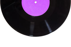 Disco del vinilo con la etiqueta púrpura Fotos de archivo