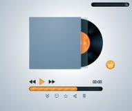 Disco del vinilo del vector en jugador de música del sobre Foto de archivo