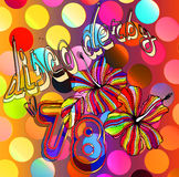 Disco derby hibiscus. Rainbow colored retro 70's disco hibiscus placement with retro lettering details and fleurescent abstract ground and  polka-dots Stock Photos