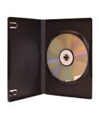 Disco di DVD in casella isolata su bianco Immagini Stock Libere da Diritti