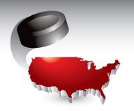 Disco di gomma di hokey intorno all'icona degli Stati Uniti Fotografia Stock Libera da Diritti
