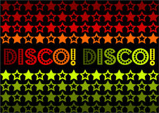 Disco! Disco!. 70s Retro design featuring stars and text 'Disco! Disco!' It also has the possibility of being used as a seamless tile Stock Image