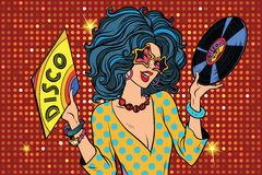 Disco diva retro lady. Pop art vector illustration. Girl with a vinyl record Stock Photo