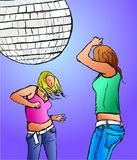 Disco divas. Two young women dancing together under a disco ball Stock Photography