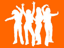 Disco divas. Silhouettes of females disco dancing Royalty Free Stock Images