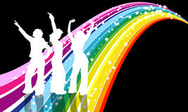 Disco divas. 3 females dancing on retro background Stock Photo