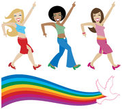 Disco Divas. Jive girls from the seventies getting their groove on - includes a retro style rainbow with dove Royalty Free Illustration