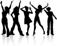 Disco divas. Silhouettes of various females dancing Stock Images