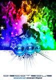Disco DJ com as flamas coloridas arco-íris ilustração do vetor