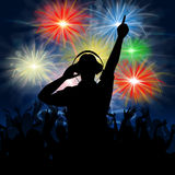 Disco Dj Represents Fireworks Display And Celebrating Stock Photos