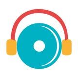 disco do DJ e fones de ouvido coloridos, gráfico Fotos de Stock Royalty Free