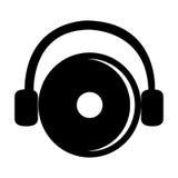 disco do DJ e fones de ouvido pretos, gráfico Imagens de Stock Royalty Free