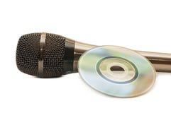 Disco do microfone e do dvd Fotos de Stock Royalty Free