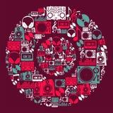 Disco dos ícones da música do DJ Fotografia de Stock Royalty Free