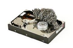 Disco duro aberto com palhas de aço Fotografia de Stock Royalty Free