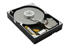 Disco duro abierto de Rreal aislado en el fondo blanco imagen de archivo