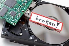 Disco duro del ordenador quebrado Fotografía de archivo