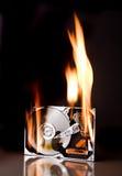 Disco duro en el fuego Fotografía de archivo
