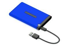 Disco duro externo del azul Imagenes de archivo