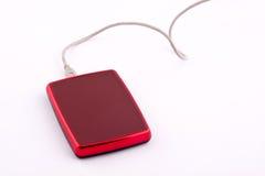 Disco duro externo del rojo Fotos de archivo libres de regalías
