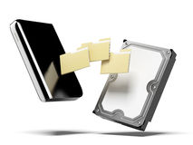 Disco duro externo y carpetas del Portable ilustración del vector