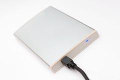 Disco duro portable externo conectado Imagenes de archivo