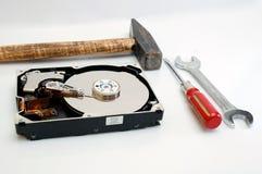Disco duro y herramientas Imágenes de archivo libres de regalías