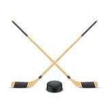 Disco e bastoni di hockey su ghiaccio Vettore Fotografia Stock Libera da Diritti