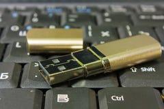 Disco e tastiera del USB dell'oro Fotografia Stock Libera da Diritti