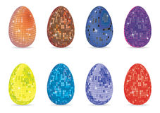 Disco eggs. A set of eight easter eggs wrapped as a disco ball Royalty Free Stock Photos