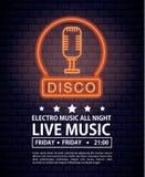 Disco electro music invitation poster. Neon lights colors vector illustration graphic design royalty free illustration