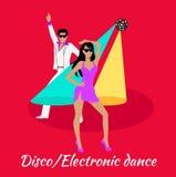 Disco and Electronic Dance Concept Flat Design Stock Photos