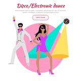 Disco and Electronic Dance Conceptual Banner. In flat design. Dance music,club music. Party and dancer, couple and entertainment, event fashion, music nightlife stock illustration