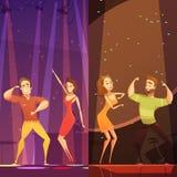 Disco Evening Dancing Pairs Cartoon Poster Royalty Free Stock Photos