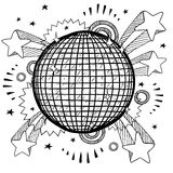 Disco excitement sketch. Doodle style retro disco ball on 1970s pop explosion background Royalty Free Stock Image