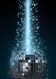 Disco explosion. 3D render of disco ball shattered by light Royalty Free Stock Photography